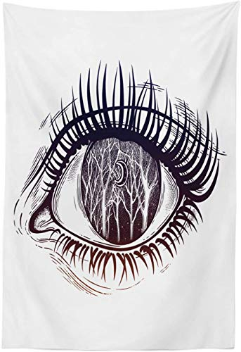 """Voodoo Tapestry, Female Eye with Long Lashes Night Forest Scenery with Trees and Moon, Fabric Wall Hanging Decor for Bedroom Living Room Dorm, 40"""" X 60"""", Dark Blue Dark Brown White"""