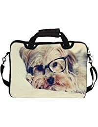 """Snoogg Cute Dog With Glasses 12"""" 12.5"""" 12.6"""" Inch Laptop Notebook SlipCase With Shoulder Strap Handle Sleeve Soft..."""