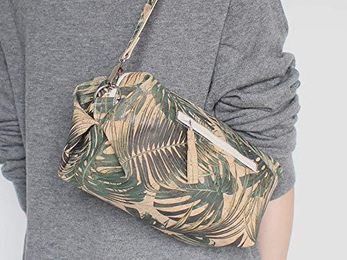Kork Handtasche, Monstera Umhängetasche, vegan, schwarze Schultertasche, Geschenk, - 4