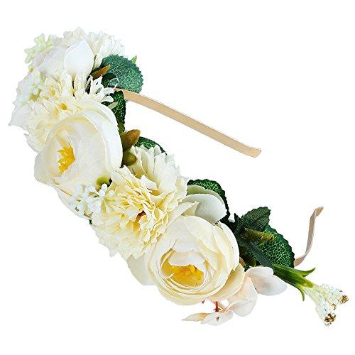 AWAYTR Mädchen Braut Blumenkrone Stirnband Haarband Blumen Girlande Kopfstück zum Hochzeit Parteien (Weiß + Gelb)