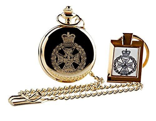Royal grün Jacken Taschenuhr und Schlüsselanhänger Geschenk Set echte 24Karat vergoldet Armee Militär Wappen Luxus Geschenk in Fall RGJ CRESTED Emblem