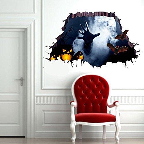 Holeider Halloween Wanddeko 75x34cm 3D Wandaufkleber Wandsticker Wandtattoo Dekoration Hot Dekoration für Halloween (Einfache Schnelle Super Kostüme Halloween)