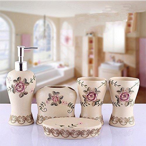 ZDDT Rose Stickerei Badezimmer Bad 5 Stücke Set 3D Decor Zubehör Sammlung Set für Hotel & Home, 001 - Sammlung 5 Stück Set