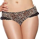 Babysbreath Donne Leopard modello aperto della biforcazione Mutandine Thongs G stringhe Formato più XXL