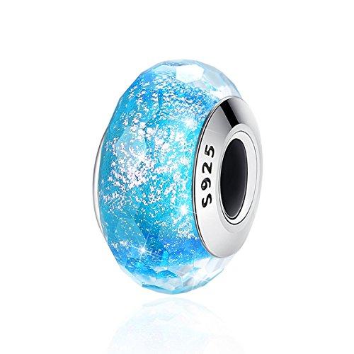 Forever Queen Murano Glas Charm Bead für Armbänder Pandora Charm 925 Sterling Silber Disney Anhänger selbstgemachten Schmuck Idee für Frau Freundin Tochter Schwester bj09074 -