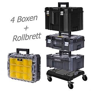 STANLEY FATMAX TSTAK Box II + Box III + Box V + Box VI plus Rollbrett