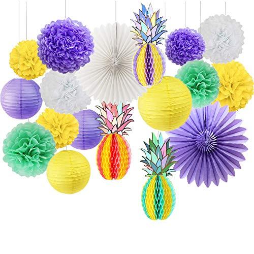 18 Stück Party-Papierfächer Ananas Pom Bälle Laternen Strand Sommer Hawaiian Luau Tropische Dekoration