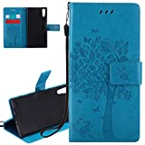 ISAKEN Sony Xperia XZ Case, New Solid Blue Xperia XZ Case, ISAKEN PU Leather Cover with Strap for Sony XZ - Fashion Cat Tree Pattern Design Bookstyle Cell Phone Case Luxury Pu Leather Wallet Magnetic Design Mobile Cover Protect Skin Stand Case Pouch with Card Holder - Tree: blue