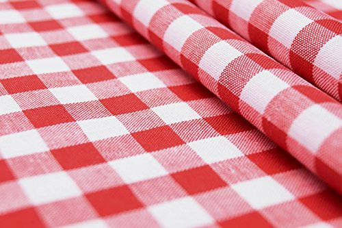 CENTRO - carreaux rouge blanc - 100% coton - vichy - couleur Tissu - vendu au mètre