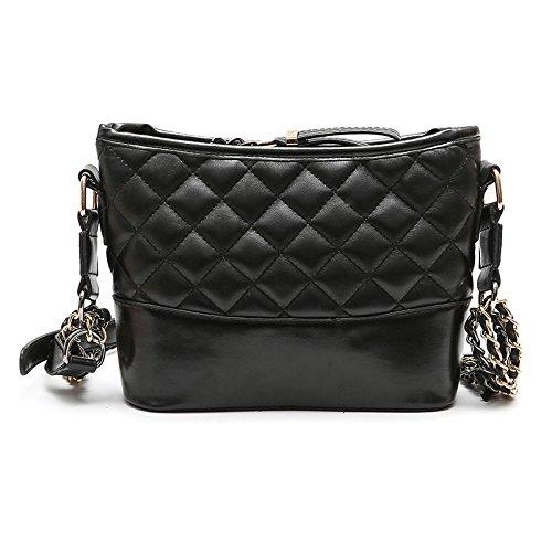 Frauen Gesteppte Designer Kette Tasche PU-Leder Plaid Handtasche Schulter Crossbody-Tasche Mit Goldborten,Black-24 * 8 * 17cm -