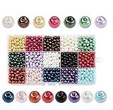 PandaHall - 1050 pcs 15 Couleurs Perle en Verre Perles Rondes Perles Nacrées Teint pour DIY Fabrication de Bijoux Collier Bracelet, 6mm, Trou: 1mm