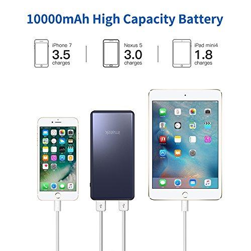 IMATEK PowerBank PB21022 e Una Batteria Esterna con capacità di 10000 mAh, Una delle più Piccole e Leggere, Potenza Ultra-compatta e Ricarica Rapida per iPhone, Samsung Galaxy e Altri, Colore:Grigio.