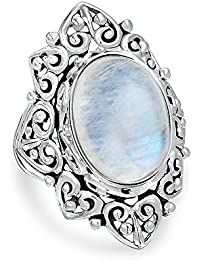 Bling Jewelry Vintage Style Filigree Oval Rainbow Moonstone Sterling Silver Ring