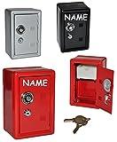 Unbekannt Spardose Tresor Schrank rot / schwarz / grau - mit Schlüssel - incl. Name - stabile Sparbüchse für die Reisekasse aus Metall - Safe Tresorschrank Geld Sparschwein