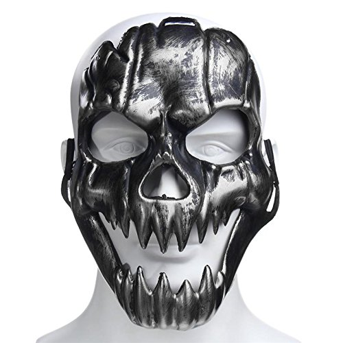Skeleton Maske für Halloween Cosplay Party Kostüm Requisiten Skull Face Mask Masquerade Party Events Dekoration silber (Halloween Scary Skeletons)