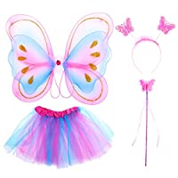 Tinksky 4Pcs Girls Fairy Costumes with Wings Headband Kids Fairy Princess Costume Set Tutu Skirt Butterfly Wing Wand Headband Party Costume, Colorful, M