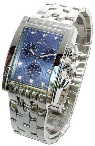 Oskar Emil Rodez – Reloj de Lujo Cronógrafo para Hombre, Acero Inoxidable Con 7 Diamantes Esfera Azul