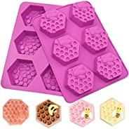 SAKOLLA 6 Cavities Bee Honeycomb Soap Molds, 3D Hexagon Silicone Molds for Chocolate Cake, Candle, Pudding, Mu