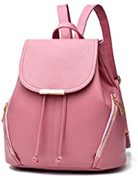 Aiseyi Casual Fashion School Leather Backpack Shoulder Bag Mini Backpack For Women Girls Purse (Pink)