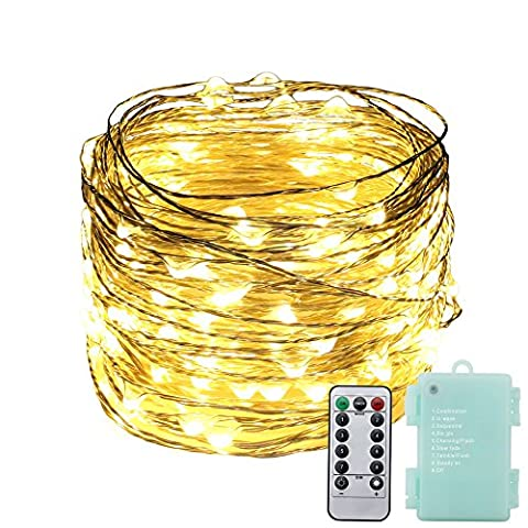 Dimmable Fairy Lights,RUICHEN(TM) 66Ft/20M 200 LED Battery Powered 8 Lighting Mode Indoor&Outdoor Silver Wire Fairy String Lights With Remote Control for Christmas, Weddings, Parties(Warm White)