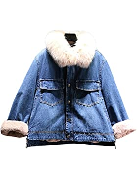 YuanDian Mujer Invierno Denim Terciopelo Jeans Chaqueta Collar y Manga de Piel Sintética Slim Fit Calentar Moda...