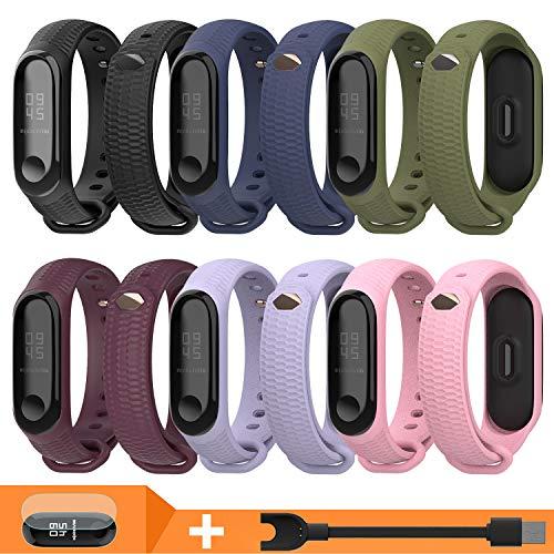 Mijobs Cinturino per Xiaomi Mi Band 3 Cinturino in Acciaio Inossidabile Braccialetto di Ricambio per Xiaomi Mi Band 3 Miband 3 Braccialetto (6 PZ Sets)