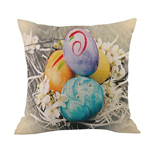 Festlicher Eier Kissenbezug, Osterkissen-Kissenbezug, JMETRIC-Leinen Baumwoll-Kissenbezug Wohnaccessoires(Mehrfarbig12)