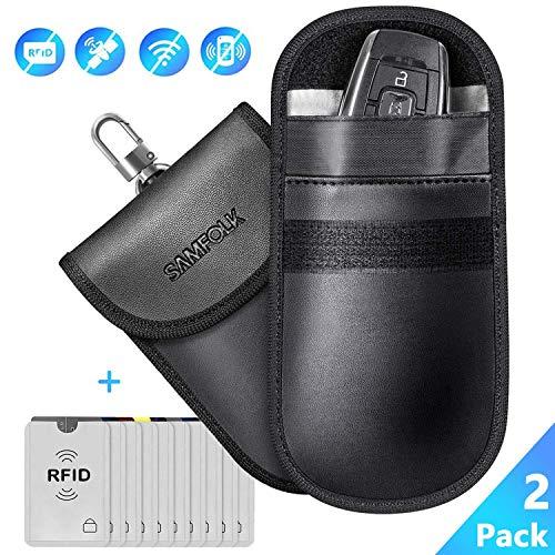 Keyless Go Schutz Autoschlüssel Funkschlüssel Abschirmung(2 Stk)+ 10 Stk Rfid Blocker Schutzhüllen für Kreditkarten, Blocking Faraday Schlüsseltasche Strahlenschutz Taschen