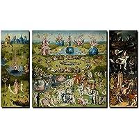 70x130cm - 3 Panel Lienzos Arte de la pared - Famoso Jardín de Arte de las Delicias Termales Réplica Lienzo Pintura Decoraciones de la pared Para la Sala Sin Marco (PT5843, 30x70cmx2 70x70cm)