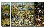 60x100cm - Lienzo de 3 paneles Huellas dactilares Mural - Famoso Jardín de Arte de las Delicias Terrestres Réplica Pintura de Lienzo Decoraciones de Pared para la Sala de estar (PT5843, 20x60cmx2 60x60cm)