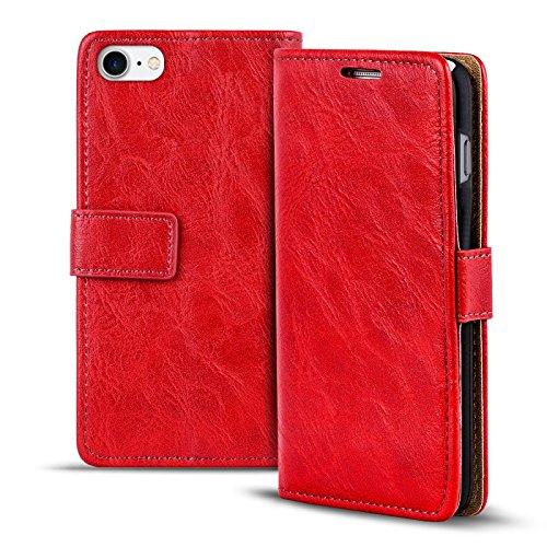 iPhone 7 Bookstyle Hülle,Conie Mobile Handytasche Wallet Tasche PU Leder Schutzhülle Klapptasche, Kartenfächer, Book Case in Rot Rot