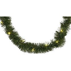 Brauns Heitmann 84885 - Guirnalda led para árbol de Navidad (20 unidades, 270 cm, funciona con 3 pilas AA no incluidas), color verde