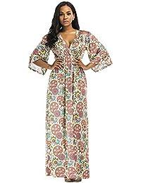 SODIAL Taille de Nouvel Automne Hiver pour La Femme Jupe Plissee de La Femme  Sexy de Fleur D Impression Robe Maxi Bohemien A… 528f579b6f1