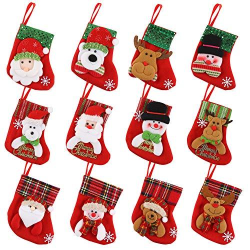 HOWAF 12pcs Medias de Navidad Bolsa de Regalo Calcetines de Navidad para el árbol de Navidad Chimenea...