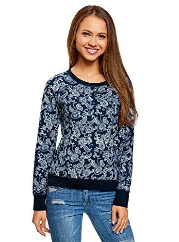 oodji Ultra Damen Bedrucktes Sweatshirt Basic, Blau, DE 40 / EU 42 / L