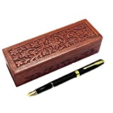 Boîte à crayons en bois, décoration florale Carving Work Pen Box, porte-crayon, porte-stylo, boîte de rangement de 10 pouces.