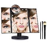 AUSHEN - Espejo de maquillaje iluminado con 22 luces LED, pantalla táctil, 1 x 2 x 3 x 10 x con aumento, triple plegado, espejo de maquillaje LED con 3 pinceles de maquillaje