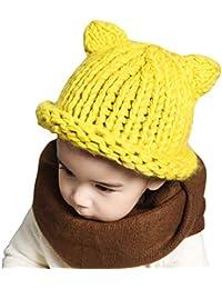 711603a066ddb SombreroTejido Bebé Sombrero de Beanie Gorra para Niños Pequeños Sombrero  de Invierno Gorro de ...
