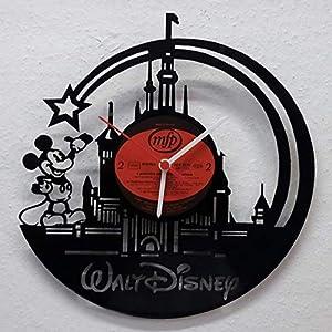 Wanduhr Uhr Skyline Walt Disney Micky Maus Silhouette Chronometer aus original Vinyl Schallplatte Upcycling Design Uhr Wand-Deko Wand-Dekoration