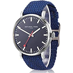 Men Sports Casual Watches with Black Dial Nylon Watch Bands