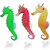 Petilleur 3Pcs Aquarium Deko Seepferdchen Leuchtend Ornamente für Aquarium