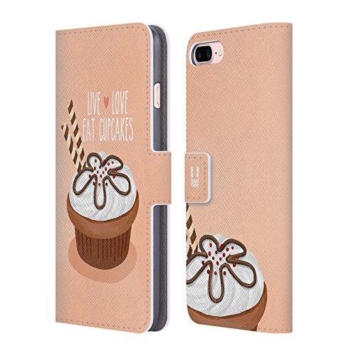Head Case Designs Regenbogen Cupcake Freude Brieftasche Handyhülle aus Leder für Apple iPhone 6 / 6s Schokolade Waffeln