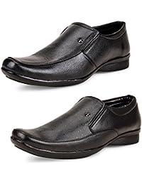 Shoe Daisy Men's Pack Of 2 Black Slip-on Formal Shoes