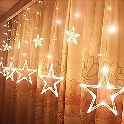 Locisne Se puede conectar LED 138 Stars 12pcs 1m * 2m cortina de luz de la ventana se enciende con 8 modos para el árbol de Navidad de interior / Fiesta de Navidad del paisaje al aire libre lámpara del proyector de vacaciones de Año Nuevo jardín Patio Etapa decoración de la casa (blanco cálido)