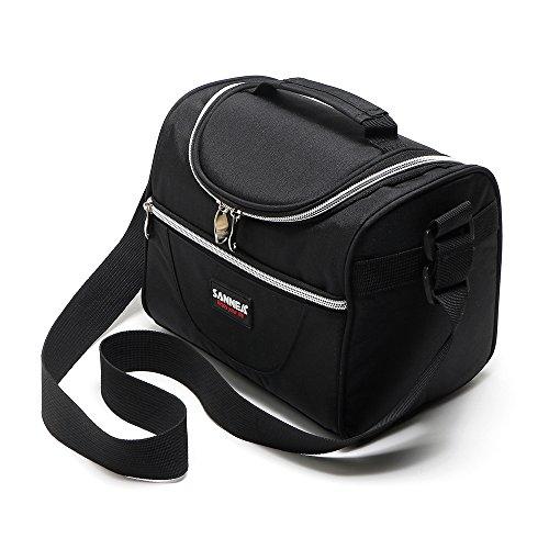 Sanne isolierte Lunch-Tasche, Kühltasche, groß, mit verstellbarem Schultergurt, Reißverschluss, für Erwachsene, Kinder (4Farben erhältlich) schwarz