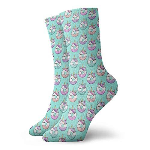 Huabuqi Socken Lustig Bunt, (34 Skala) Unicorn Donuts On Blue C18BS_2043,100% Baumwolle Rutschfest für Männer, Frauen, 15.7 Zoll, One Size. (Cheshire Katze Mann Kostüm)