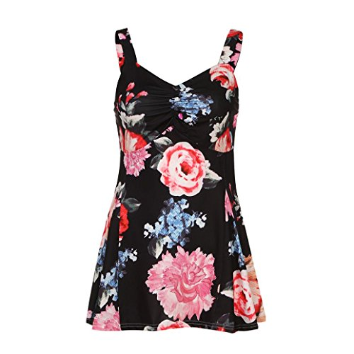 KaloryWee Women Summer Sleeveless Floral Vest Tank Tops Ladies Casual Blouse T-Shirt