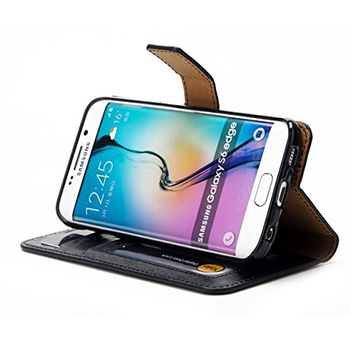 Verrückte Pferd Textur Flip Stand Fall Wallet Beutel Case Cover mit Card Slots & Abnehmbare Back Cover für Samsung Galaxy S6 Edge ( Color : Green ) Black