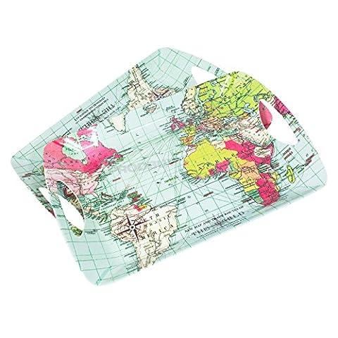 Set of 2 Large World Map Melamine Trays Breakfast Lunch Dinner Serving Lap Trays