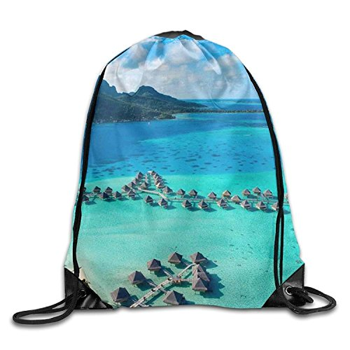 Yesliy Le SEMO2002 Resort Bora Bora Unisex Home Gym Sack Kordelzug Rucksack Reisen Tasche - Resort-fashion